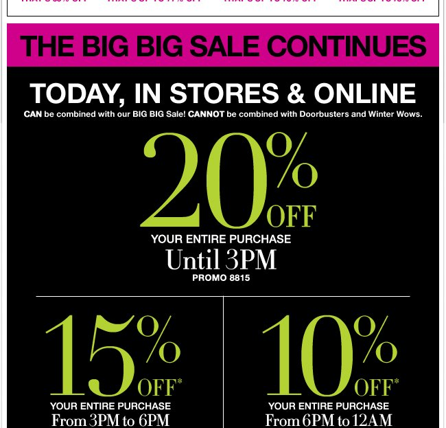 Save 20% till 3pm, 15% 3pm-6pm, & 10% after 6pm!