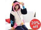 Ear-Accen Hooded Furry Zip Jacket