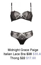 Midnight Grace by figleaves.com Paige Italian Lace Half Cup Bra was $38 now $30.40 & Thong was $22 now $17.60