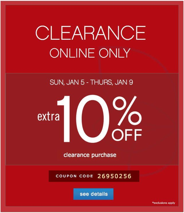 Extra 10% off Clearance. See details.