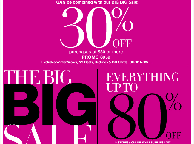 Save 30% on purchases of $50 or more (Combinable with the Big Big Sale)!