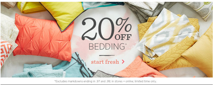20% Off Bedding* Star Fresh