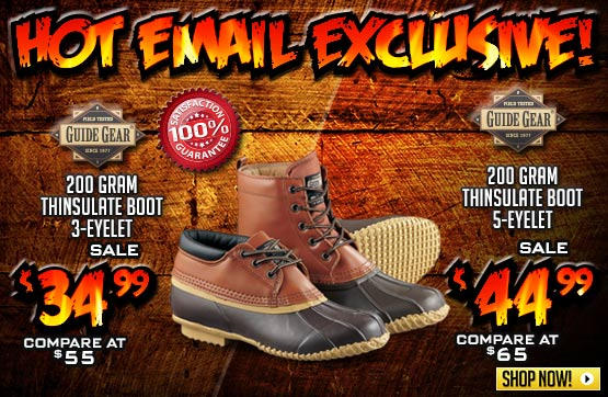 Men's Guide Gear® 200 gram Thinsulate™ Insulation 3-eyelet Boots or 5-eyelet Boots