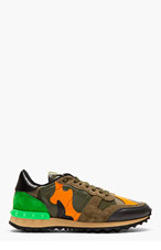 VALENTINO Green camouflage studded sneakers for women