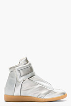 MAISON MARTIN MARGIELA Silver Glossy Vinyl High-Top Sneakers for women