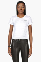 DSQUARED2 White embroidered stripe t-shirt for women