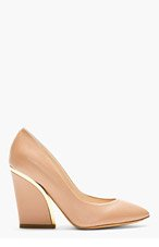 CHLOE Nude leather gold-trimmed Heels for women