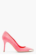 ALEXANDER MCQUEEN Pink suede metal-tipped POINTY PUMP for women