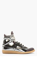 MAISON MARTIN MARGIELA Pewter & Black leather Cut out Sneakers for women