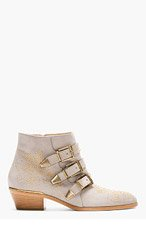 CHLOE Grey Suede Suzanna boots for women