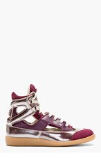MAISON MARTIN MARGIELA Plum Leather Cut-Out High-Top Sneakers for women