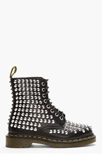 DR. MARTENS Black Leather Studded 8-Eye Boots for women