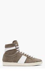 SAINT LAURENT Grey Suede High-Top Sneakers for men