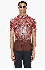 ALEXANDER MCQUEEN Red PYTHON PRINT BUTTON DOWN shirt for men