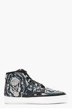 ALEXANDER MCQUEEN Black Skull & Lace High-Top Sneakers for men