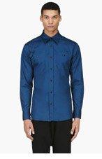 ALEXANDER MCQUEEN Blue cotton HARNESS SHIRT for men