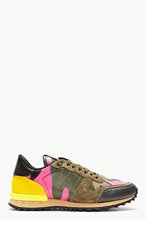 VALENTINO Green Camo Studded Running Shoes for men