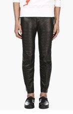 ALEXANDER MCQUEEN Black Leather Slit Biker Trousers for men