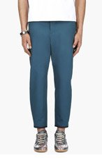 ALEXANDER MCQUEEN Teal Zipped Cropped Trousers for men