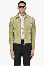 VERSACE Moss green Suede jacket for men