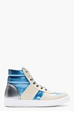 MARC JACOBS Blue Metallic Leather High-Top Sneakers for men