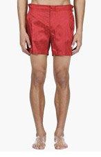 ALEXANDER MCQUEEN Red Skull Jacquard Swim Shorts for men