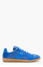 MAISON MARTIN MARGIELA Blue Leather & Suede Replica Sneakers for men