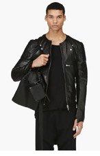 ALEXANDER MCQUEEN Black Leather Slit Biker Jacket for men