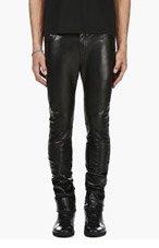 SAINT LAURENT Black Leather Trousers for men