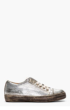 MARC JACOBS Silver Cracked Leather Sneakers for men