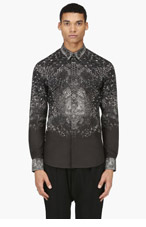 ALEXANDER MCQUEEN Black PYTHON PRINT shirt for men