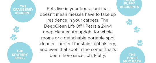 Pets live in your home, but that doesn't mean messes have to take up residence in your carpets. The DeepClean Lift-Off® Pet is a 2-in-1 deep cleaner. An upright for whole rooms or a detachable portable spot cleaner-perfect for stairs, upholstery, and even that spot in the corner that's been there since...oh, Fluffy.