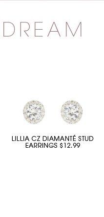 LILLIA CZ DIAMANTE STUD EARRINGS