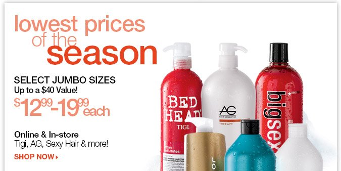 Lowest Price of the Season - Select Jumbo Sizes > Shop Now