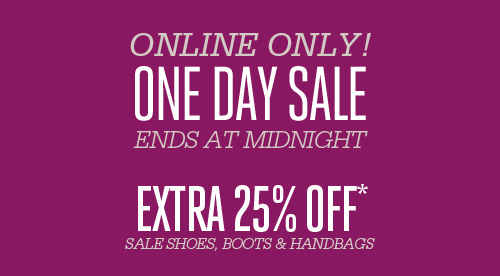 online only one day sale extra 25% off