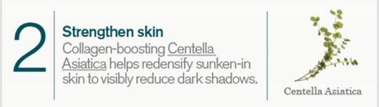 2 Strengthen skin Collagen boosting Centella Asiatica helps redesify sunken in skin to visibly reduce dark shadows