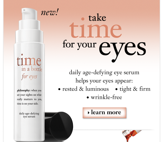 new! take time for your eyes daily age-defying eye serum helps your eyes appear: 1. rested & luminous 2. tight & firm 3. wrinkle-free