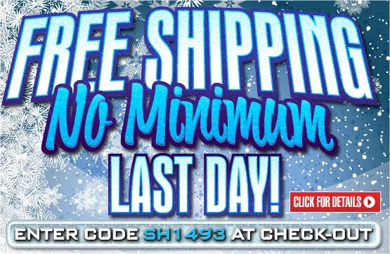 Sportsman's Guide's Free Standard Shipping on Your Merchandise Order - No Minimum Order! Please enter Coupon Code SH1493 at Checkout. Offer ends Tonight, Monday, 1/6/2014.