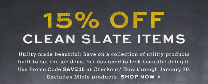 15% off Clean Slate items