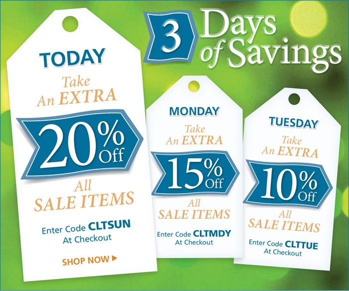 Take an extra 20% off all sale items with code CLTSUN at checkout