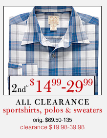 Clearance Sportshirts, Polos & Sweaters - 2nd** $14.99-29.99 USD