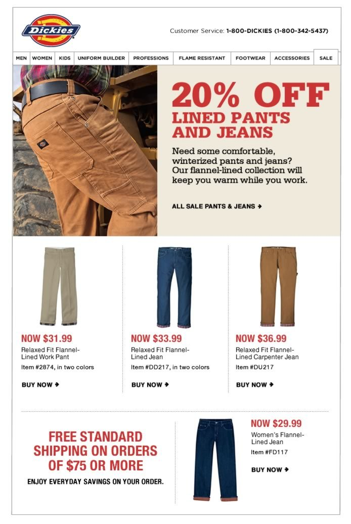 20% Off Lined Pants & Jeans