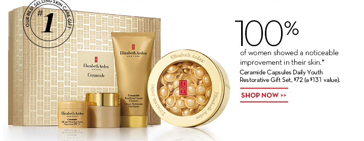 100% of women showed a noticeable improvement in their skin.* Ceramide Capsules Daily Youth Restorative Gift Set, $72 (a $131 value). SHOP NOW.