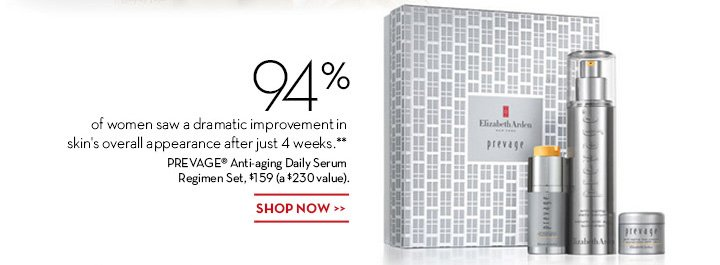 94% of women saw a dramatic improvement in skin's overall appearance after just 4 weeks.** PREVAGE® Anti-aging Daily Serum Regimen Set, $159(a $230 value). SHOP NOW.