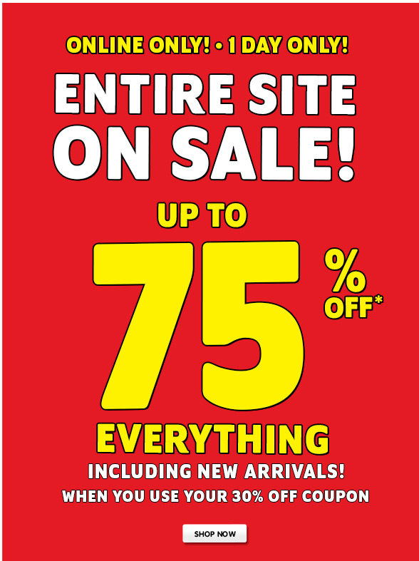 1 DAY ONLY - UP TO 80% OFF CLEARANCE ONLINE ONLY!