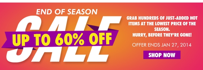 End of Season Save up to 60% off