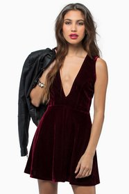 Dark and Deep V Velour Dress 40