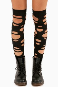 Slashed Hobo Thigh High Socks 8