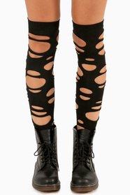 Slashed Hobo Thigh High Socks 8