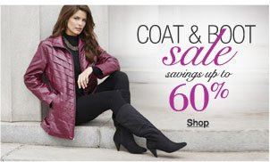 coat and boot sale savings up to 60%